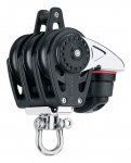 Triple Swivel Block with Cam Cleat and Becket - 40mm