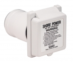 50 Amp/125V Power Easy Lock Inlet without Stainless Steel Trim with ABYC Shore Power Warning Label on Cap and Enclosure