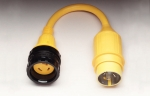 Pigtail Adapter with a 30A 125V Locking w/ Sealing Collar System Female Connector and a 50A 125V Locking Male Plug