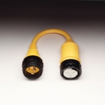 Pigtail Adapter with a 50A 125/250V Locking w/ Sealing Collar System Female Connector and a 30A 125V Locking Male Plug