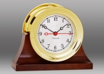 "Chelsea 4 1/2"" Shipstrike  Quartz Clock In Brass On Contemporary Base"