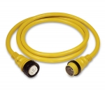 50 Amp 125/250 Volt Power Cord Plus Cordset (4-Wire) with LED - 25 ft Yellow