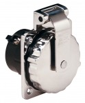 50 Amp/125V Stainless Steel Power Inlet without Rear Safety Enclosure