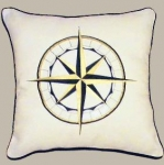 Pillow Embroidered Compass Rose
